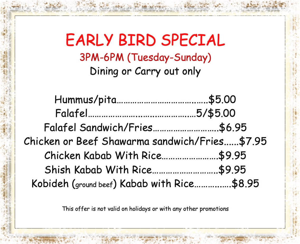 caspian kabab early bird specials