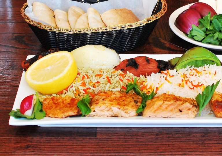 salmon-kabab-rice-skewer-veggies-close